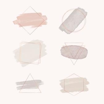 Set van abstracte aquarel logo container met geometrische vormen