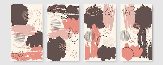 Set van abstracte banner met kopie ruimte en penseelstreken en hand merken. trendy behang met aquarel, tropisch blad ingelijst, brush en brush glitter