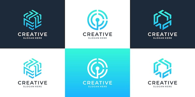 Set van abstracte bedrijfslogo ontwerpelement.
