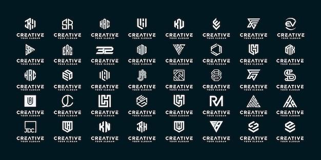 Set van abstracte beginletter az logo sjabloon. pictogrammen