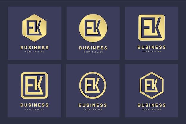 Set van abstracte beginletter ek ek logo sjabloon.