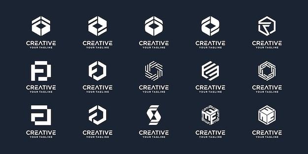 Set van abstracte beginletter f met zeshoek concept logo sjabloon.
