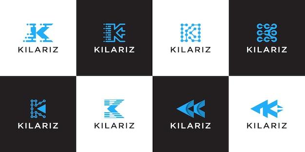 Set van abstracte beginletter k logo ontwerpsjabloon