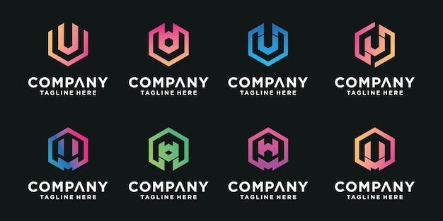 Set van abstracte beginletter u, m logo sjabloon.