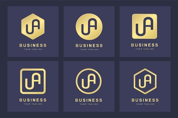 Set van abstracte beginletter ua ua logo sjabloon.