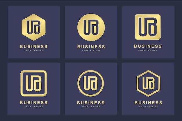 Set van abstracte beginletter ub ub logo sjabloon.