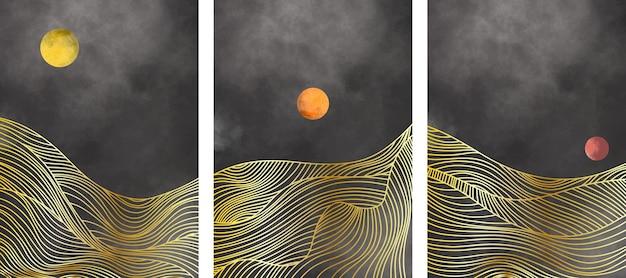 Set van abstracte berglandschap, natuurlijke landschap-achtergrond.
