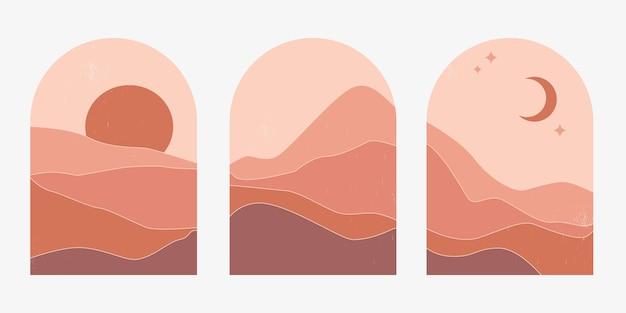Set van abstracte berglandschappen in bogen bij zonsondergang met zon en maan in een esthetiek
