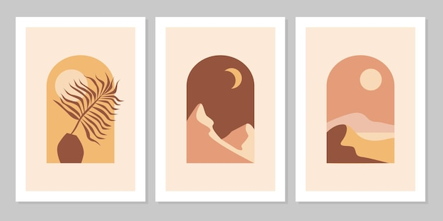 Set van abstracte berglandschappen in bogen met zonsondergang, zon, maan, vaas, blad in esthetische, minimalistische stijl uit het midden van de eeuw in natuurlijke aardetinten, terracotta, beige. wanddecoratie in boheemse stijl.