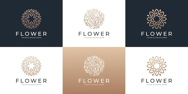 Set van abstracte bloem met blad logo ontwerp inspiratie.