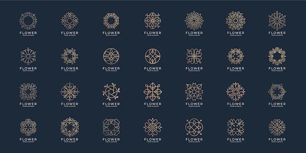 Set van abstracte bloem minimalistische lijn schoonheid. logo voor luxe schoonheidssalon, lijntekeningen, mode, huidverzorging, cosmetica, yoga, balans en spa-producten logo sjablonen.