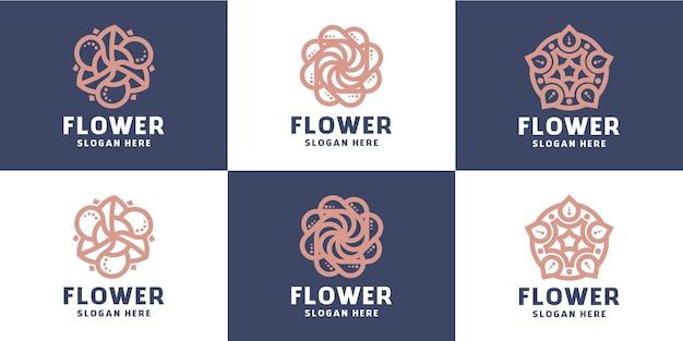 Set van abstracte bloem minimalistische lijn schoonheid