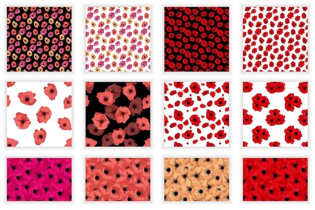 Set van abstracte bloem poppy naadloze patroon