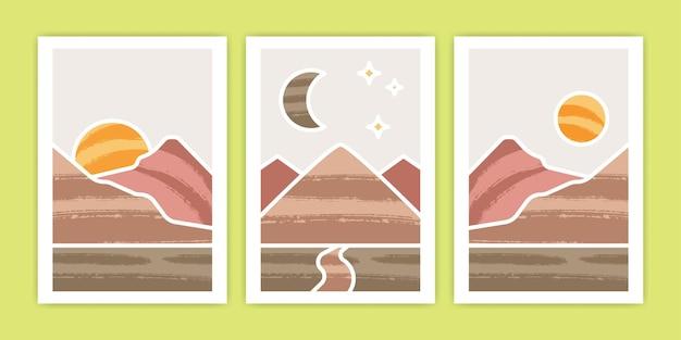 Set van abstracte boho berg, zon en wassende maan poster afbeelding