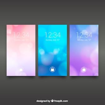 Set van abstracte bokeh mobiele wallpapers