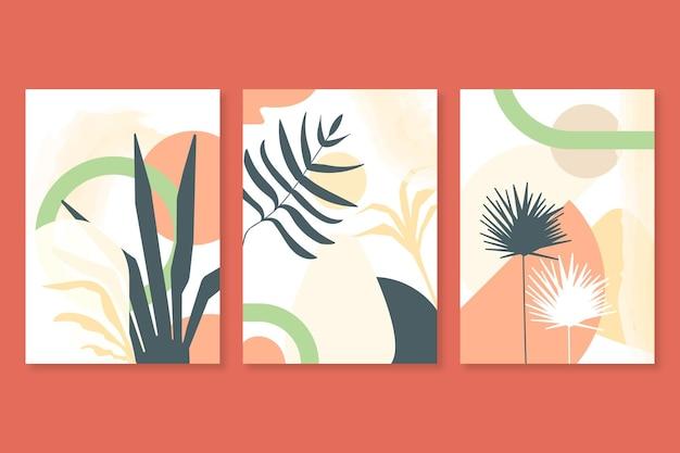 Set van abstracte botanische handgetekende covers