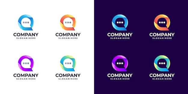 Set van abstracte bubble chat logo verloop