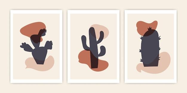 Set van abstracte cactusvorm. vector abstract omslagontwerp.