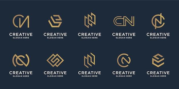 Set van abstracte combinatie letter c en letter n sjabloon.