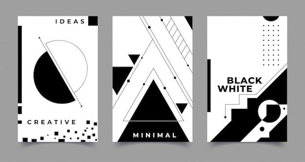 Set van abstracte creatieve achtergronden in minimale trendy stijl. illustratie Premium Vector