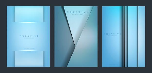 Set van abstracte creatieve achtergrondontwerpen in blauw