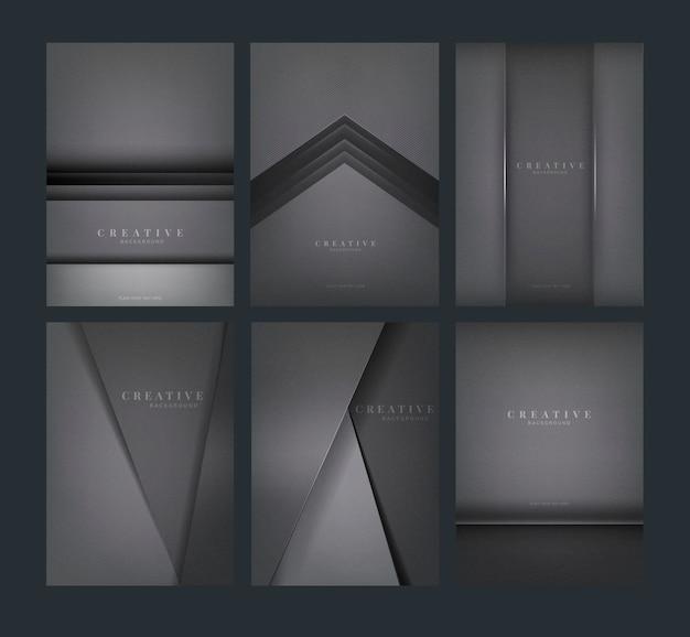 Set van abstracte creatieve achtergrondontwerpen in donker grijs