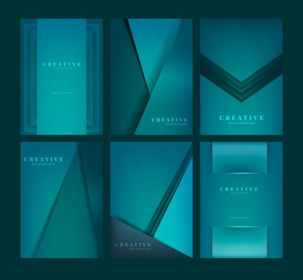 Set van abstracte creatieve achtergrondontwerpen in het groen