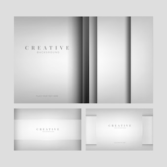 Set van abstracte creatieve achtergrondontwerpen in lichtgrijs