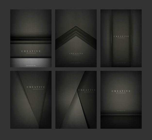 Set van abstracte creatieve achtergrondontwerpen in zwart