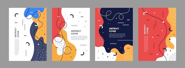 Set van abstracte creatieve artistieke sjabloon voor cover ontwerp