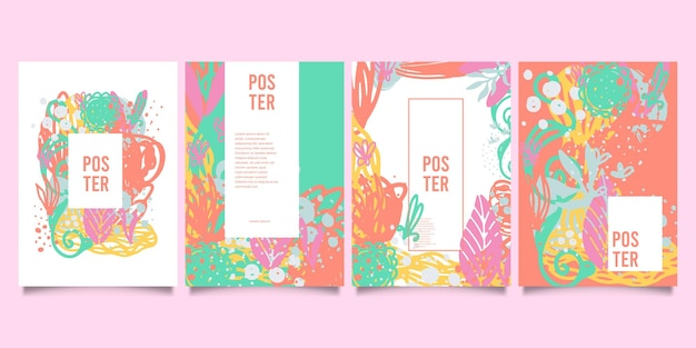 Set van abstracte creatieve universele artistieke sjablonen. goed voor poster, kaart, uitnodiging, flyer, omslag, banner, plakkaat, brochure en ander grafisch ontwerp.