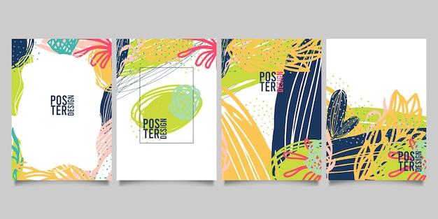 Set van abstracte creatieve universele artistieke sjablonen.