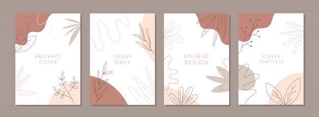 Set van abstracte creatieve universele cover ontwerpsjablonen met natuur concept