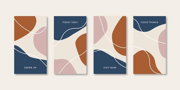 Set van abstracte creatieve universele omslagontwerpsjablonen voor instagram- en facebookverhalen