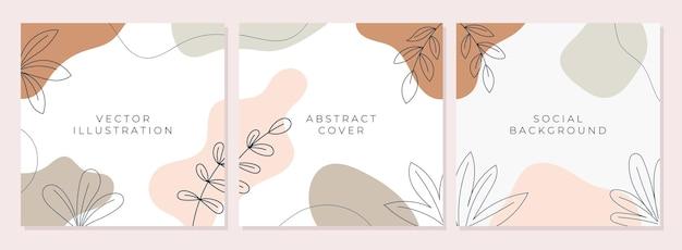 Set van abstracte creatieve universele omslagontwerpsjablonen