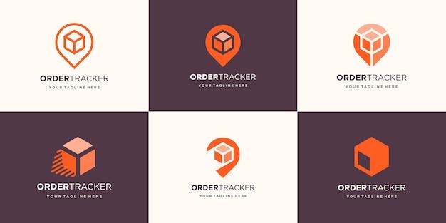 Set van abstracte doos met pin locatie logo-ontwerp.