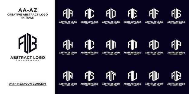 Set van abstracte eerste aa - een z. monogram logo-ontwerp, pictogrammen voor zaken van luxe, elegant