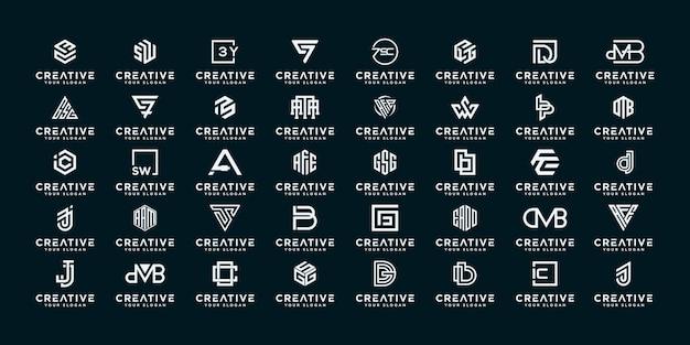 Set van abstracte eerste az. monogram logo-ontwerp, pictogrammen