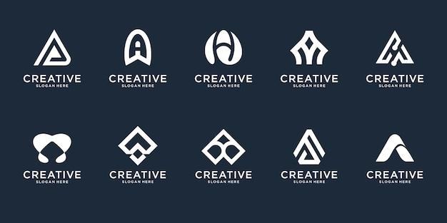 Set van abstracte eerste letter a logo ontwerpsjabloon. pictogrammen voor zaken van luxe