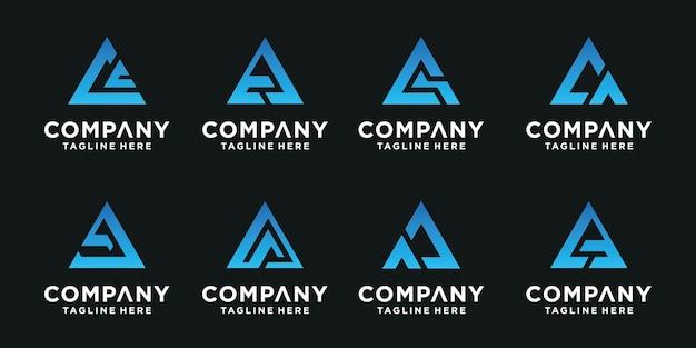 Set van abstracte eerste letter c, ca logo sjabloon. pictogrammen voor zaken van luxe, elegant, eenvoudig.