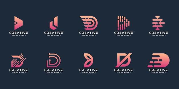 Set van abstracte eerste letter d logo sjabloon
