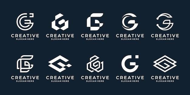 Set van abstracte eerste letter g logo sjabloon. geometrische iconen voor zaken van mode, sport, automotive.