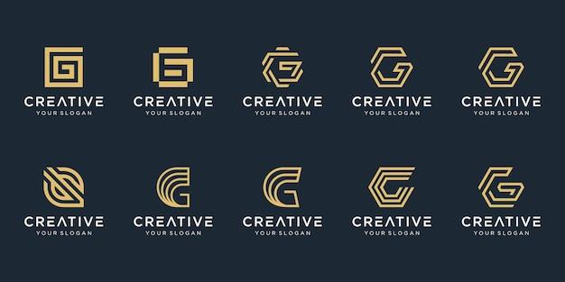 Set van abstracte eerste letter g logo sjabloon.