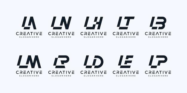 Set van abstracte eerste letter l logo sjabloon. Premium Vector