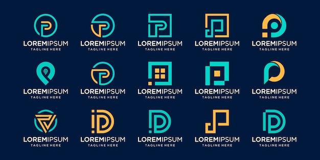 Set van abstracte eerste letter p logo sjabloon. pictogrammen voor zaken als mode, digitaal, technologie,