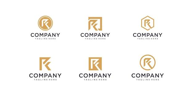 Set van abstracte eerste letter r logo ontwerp sjabloon iconen voor zaken van luxe elegante simple