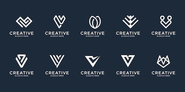 Set van abstracte eerste letter v logo ontwerpsjabloon. pictogrammen voor zaken van luxe, elegant, eenvoudig.