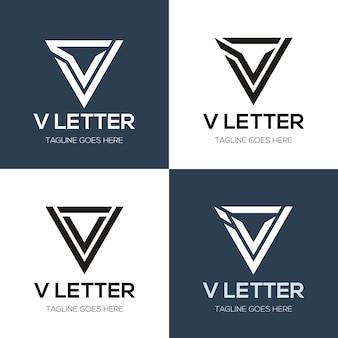 Set van abstracte eerste letter v logo ontwerpsjabloon. pictogrammen voor zaken van luxe, elegant, eenvoudig