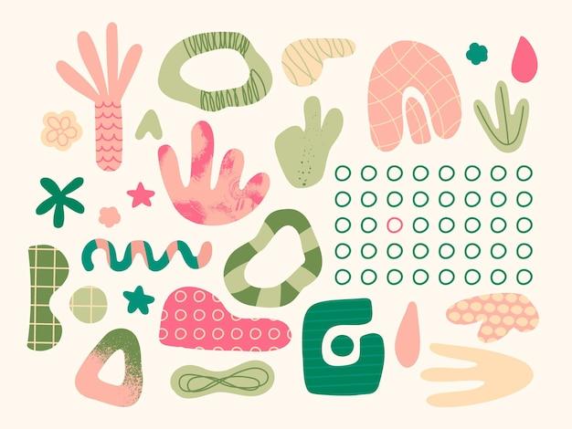 Set van abstracte elementen van verschillende vormen en doodles roze groene pastelkleuren