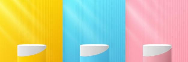 Set van abstracte geel blauw roze cilinder voetstuk podium pastel kleur verticale textuur achtergrond
